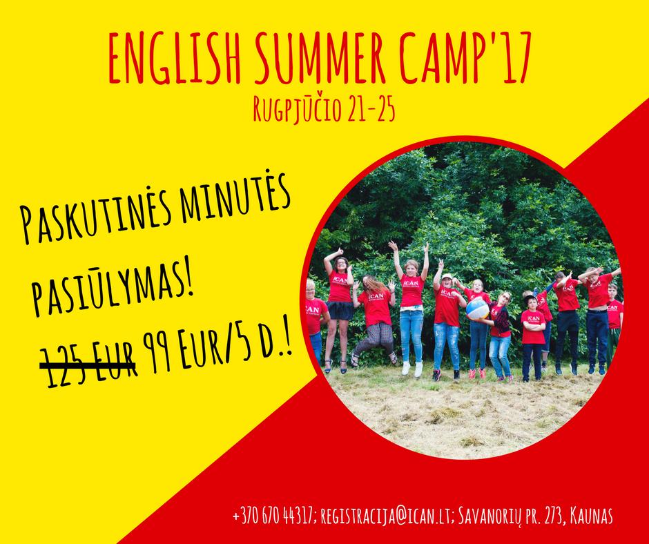 Paskutinės minutės pasiūlymas! 20% nuolaida ENGLISH SUMMER CAMP!