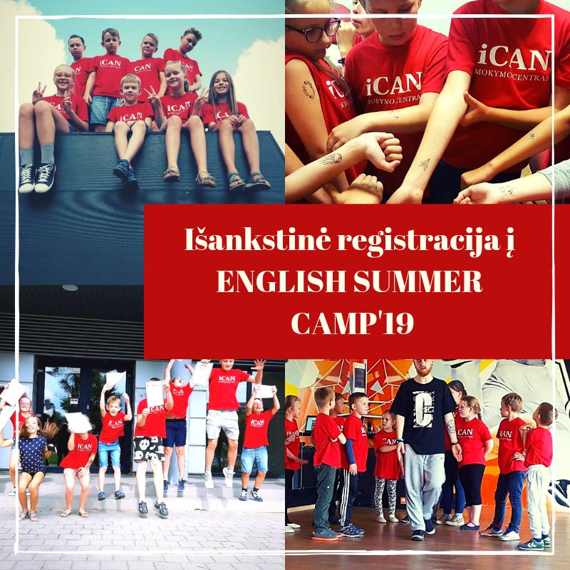 Išankstinė registracija į anglų kalbos dienos stovyklą ENGLISH SUMMER CAMP'19!